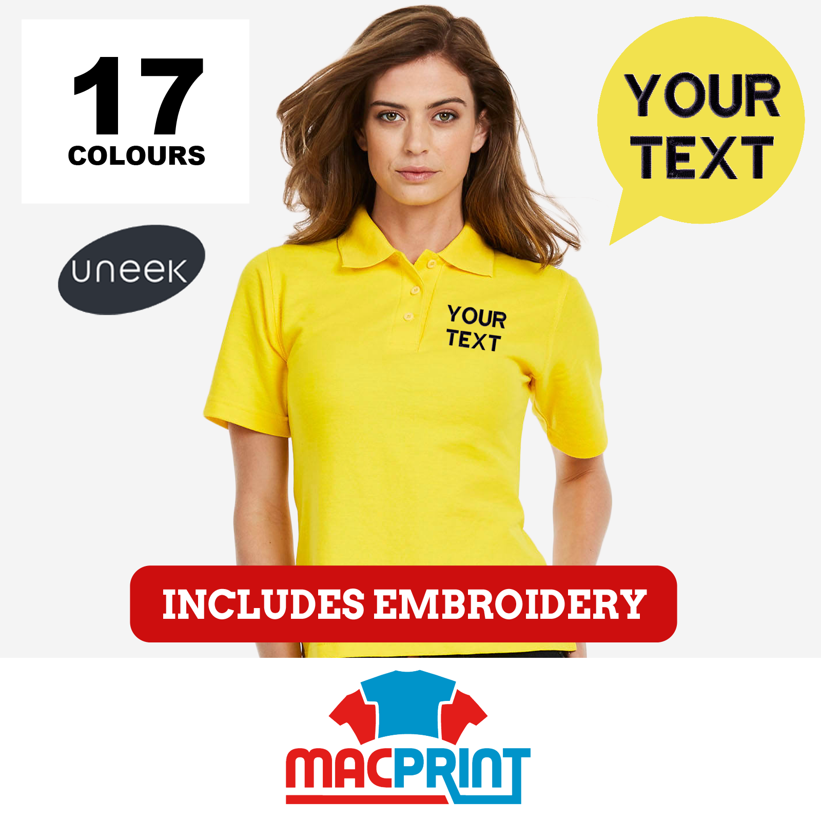 Personalised Embroidered Ladies Polo Shirts Uneek UC106 Workwear ...