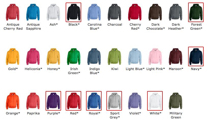 Gildan GD057 Heavy Hooded Sweatshirt Embroidered Pullover Hoodie Customised.
